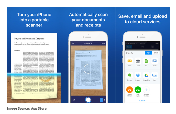 Screenshots of the Scanner Pro app, perfect for productivity